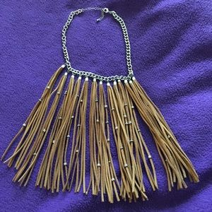 Boho fringe tan suede necklace